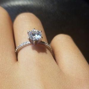 Moissanite white gold engagement ring